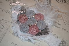 Fancy N French Rosette headands French kissed Grey by JLexiJolie, $25.99
