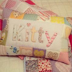 Em Teacup appliqued/ patchwork named pillow