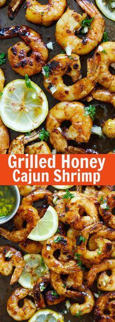 Grilled Honey Cajun Shrimp – amazing grilled shrimp with honey cajun seasonings. Sweet, spicy, the best and easiest cajun shrimp ever | rasamalaysia.com
