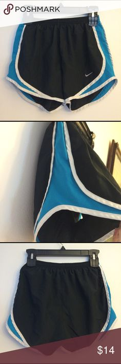 Nike DriFit Shorts Black with white stripe and blue mesh. Lined inside. Nike Shorts