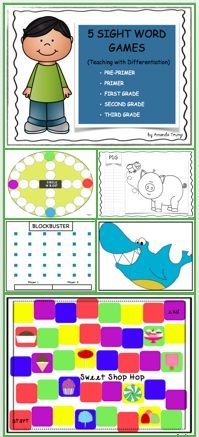 Sight Words Games - Differentiation - Real Time - Diet, Exercise, Fitness, Finance You for Healthy articles ideas Kindergarten Reading Activities, Reading Resources, Teacher Resources, Interactive Activities, Kindergarten Teachers, Classroom Resources, Dolch Sight Words, Sight Word Games, Reading Centers