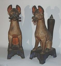 Pair Shinto guardian foxes, earthenware, Japan, 19th c.