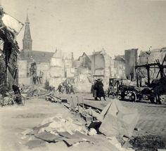 Broerstraat, kort na het bombardement van 22 februari 1944.