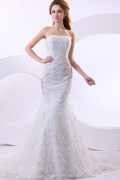 Fashion Mermaid Strapless Lace Wedding Dress With Jacket
