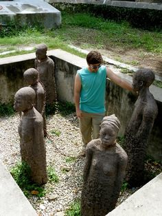 A memorial statue at the location of the old Stone town slave market. The statue was made by a Swedish sculptor and chains that were actually used to bind slaves are used in the statue binding the figures together. I hopped in to share a moment of silence.