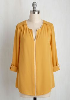 Podcast Co-Host Top in Sunlight. Even a late night in the studio deserves your best style effort. #yellow #modcloth