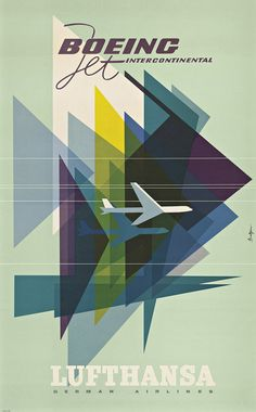 A Lufthansa poster uses graphic, modern imagery.