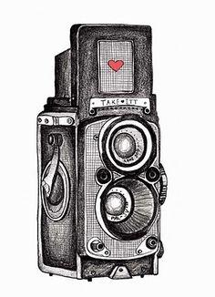 photo editing,photo manipulation,photo creative,camera effects Camera Drawing, Camera Art, Camera Sketches, Retro Camera, Polaroid, Wooden Camera, Wall Drawing, Love Illustration, Through The Looking Glass