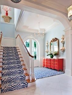 Blue entry with coral
