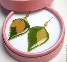 Купить Серьги с настоящими листьями березы - серьги в подарок, настоящие растения, береза, березовые листья