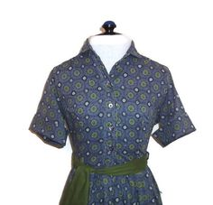1950s Novelty Print Cotton Shirtwaist Dress by willynillyvintage
