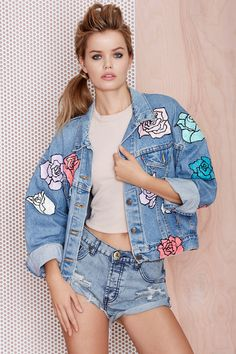 Nasty Gal x Peggy Noland Hand Painted Denim Jacket