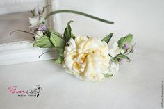 Купить Ободок с цветами для девочки. Цветы из ткани, шелка. - желтый, ободок с розами, ободок для волос