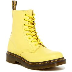 Dr. Martens Pascal 8 Eye Boot (1.227.415 IDR) ❤ liked on Polyvore featuring shoes, boots, yellow, yellow boots, laced boots, leather boots, dr martens boots and lace-up platform boots