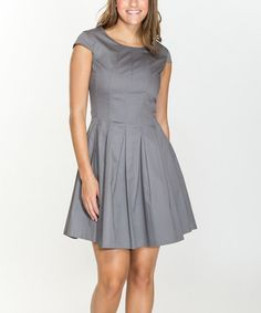 Another great find on #zulily! Charcoal Pleated A-Line Dress #zulilyfinds