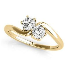 Allurez Diamond Solitaire Two Stone Ring 14k Yellow Gold (0.50ct) (1,945 BAM) ❤ liked on Polyvore featuring jewelry, rings, diamond solitaire ring, 14 karat gold ring, 14k ring, fine jewelry and gold fine jewelry