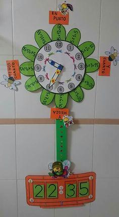 Lucía García Martínez teacher of Infant Education at C. Elementary Education, Kids Education, Education Major, Math Games, Preschool Activities, Math Clock, Clock Craft, School Decorations, 2nd Grade Math