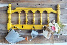 super cute repurposed yellow headboard cute idea for entryway to hang coats Yellow Headboard, Old Headboard, Headboards, Refurbished Headboard, Painted Headboard, Repurposed Items, Repurposed Furniture, Painted Furniture, Refinished Furniture