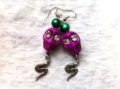 Purple Sugar Skull Snake Earrings by Hankat on Etsy, $14.00