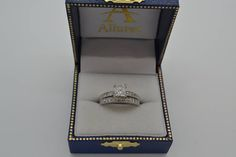 Cathedral Diamond Accented Vintage Bridal Set in 14k W. Gold (0.62ct) - Allurez.com
