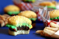 Burger Bite—Cupcake, brownie, and frosting cupcake served with sugar cookie fries.