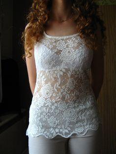 bieluteńta bluzka koronkowa koronka koronkowe plecy