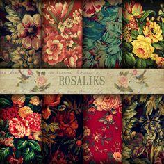 Floral Gobelin. Floral Digital Paper Pack backgrounds by rosaliks, $5.00