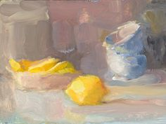 Christine Lafuente - Lemon and Teacups, oil on board, 6 x 8 inches