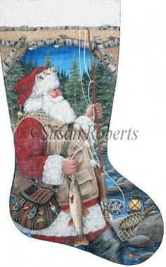 Santa Fly Fishing Stocking painted canvas by Susan Roberts, Artwork by Liz Goodrick Dillon Size: x Mesh Count: 13 Needlepoint Christmas Stocking Kits, Cross Stitch Christmas Stockings, Cross Stitch Stocking, Needlepoint Stockings, Xmas Stockings, Needlepoint Canvases, Cross Stitch Kits, Cross Stitch Patterns, Stitching Patterns