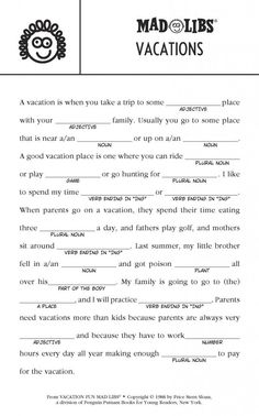 Summer Mad Lib FREE Printable