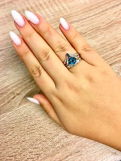 My gorgeous white pearl nails and London topaz ring❤️❤️❤️ Love love love