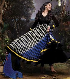 Naksh - Catchy Black and White Anarkali Suit
