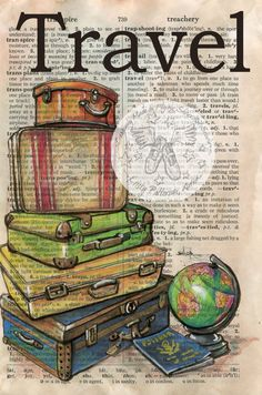 Print: travel mixed media drawing on antique dictionary page shoe art, mixed media art Watercolor Flower, Book Page Art, Vintage Suitcases, Dictionary Art, Illustration, Vintage Diy, Vintage Travel, Shoe Art, Medium Art