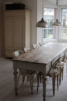 Old farmhouse dining room table & chairs...reclaimed.