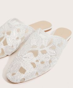 Lace slippers, 25.99£ - Nude-coloured slippers in floral lace. Sole height 1 cm. - Find more Spring Summer 2017 trends in women fashion at Oysho.