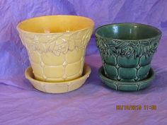 Vintage McCoy Rose Pattern the green on the right in my collection.