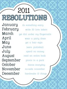 Great idea for New Year's Resolutions... set monthly ones that I could possibly stick to!