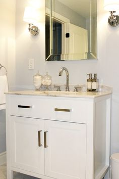 AM Dolce Vita - bathrooms - Valspar - Polar Star - Hutton Single Vanity Sink White, Lugarno Single Sconce, restoration hardware vanity, rest...