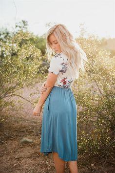 Floral & Solid Midi Dress
