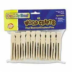"""Creativity Street Flat Wood Slotted Clothespins by Creativity Street. $5.45. Design a dancer paint a pilgrim&mdashmake countless craft characters with natural wood slotted clothespins. 3 3/4"""" length. Color(s): Natural Wood Material(s): N/A Weight: N/A Age Recommendation: Ages 3 and Up.Unit of Measure : Pack"""