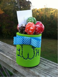 awhitecrissmas:  Now that my little knows who I am, I can post some of the things I made for her! Hand monogrammed koozie with her some of her fav candy