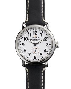 41mm Runwell Men's Watch, White/Black - Shinola