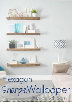 DIY Hexagon Sharpie Wallpaper {tutorial}