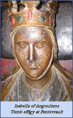 On this day 8th October,1200, Isabella of Angouleme (in Western France) was crowned Queen consort of England as the second wife of King John until his death in 1216. She had give children by the king including his heir, later Henry III. In 1220 she remarried and had a further nine children.