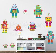 Children Playroom Robots Stickers Kids Wall Declas Boys Love Wall Graphics - 10 Robots - Baby Nursery  Wall Art Holiday Kids Gift prt0009