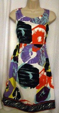 Tahari 4 Sleeveless Knee-Length Multi-Color Sundress Cotton Blend