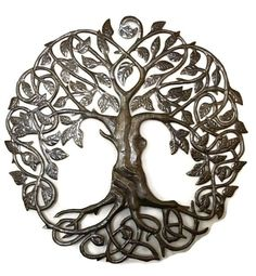 Family Roots Tree Of Life, Large Outdoor Wall Art, Recycled Metal Haiti, 33