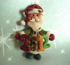polymer clay christmas images | Polymer Clay 2012 Christmas Ornament/ Milestone w Old World Santa ...