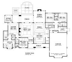 First Floor Plan of The Chesnee - House Plan Number 1290 - like the kitchen-dining-screen porch arrangement.