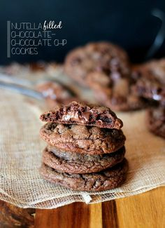 Cookies and Cups Nutella Filled Chocolate Chocolate Chip Cookies » Cookies and Cups